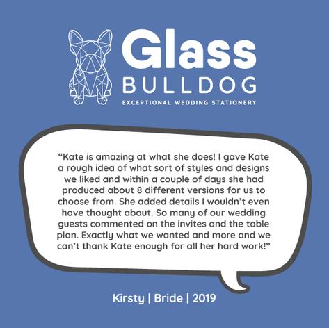 Glass Bulldog wedding stationery review - Kirsty 2019