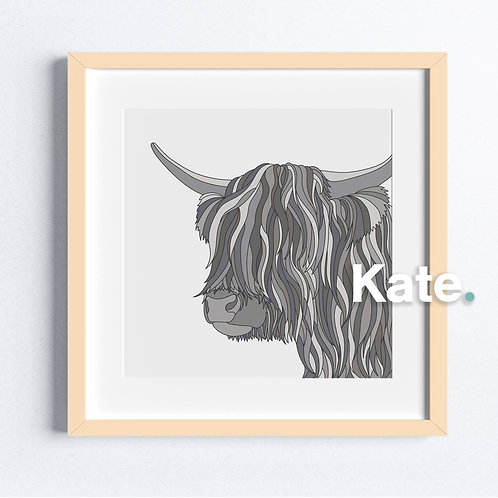 Grey Highland cow print