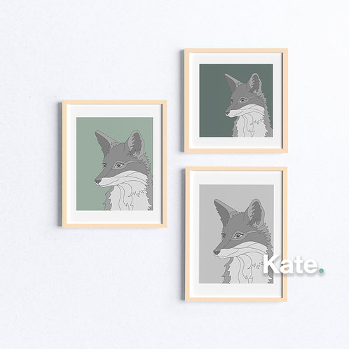 Fox print with colourful background