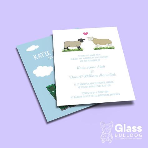 Bespoke sheep wedding invitation