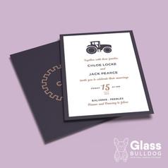 Bespoke farm themed wedding invitation