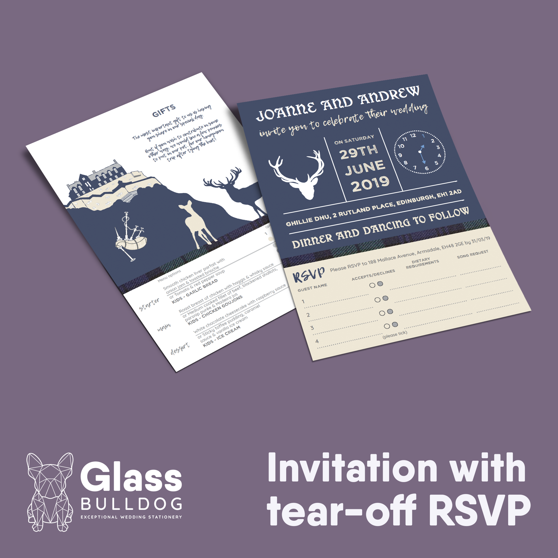 Edinburgh wedding invitation