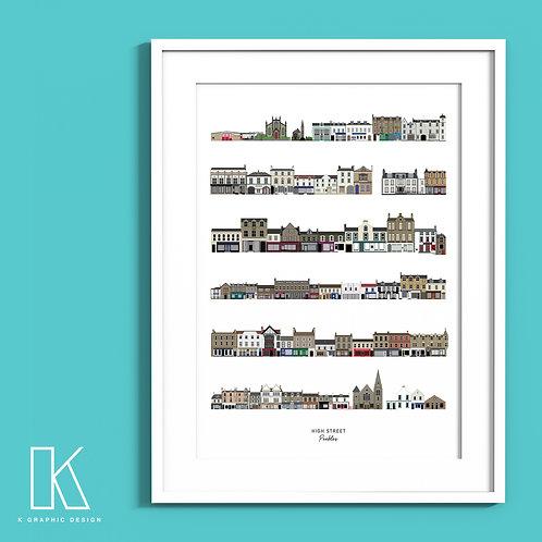 A4/A3 Peebles High Street print (white)