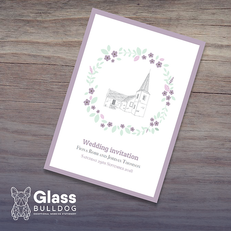 Bespoke wedding invitation with venue illustration