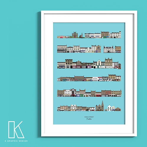A4/A3 Peebles High Street print (blue)