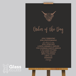 Order of the day wedding signage