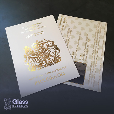 Bespoke foiled wedding passport