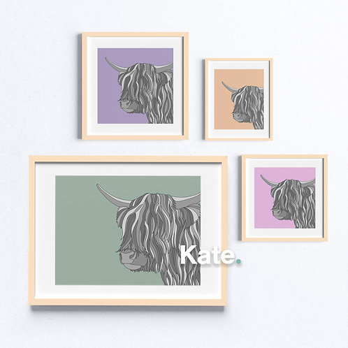 Highland cow print with colourful background