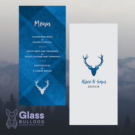 Tartan stag wedding menu