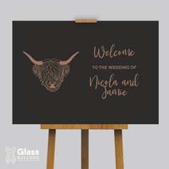 Highland cow welcome sign