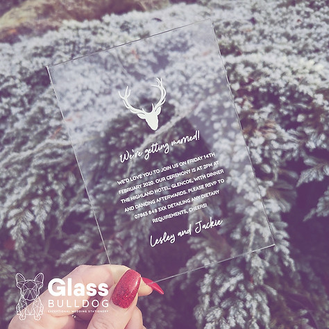 Acrylic stag wedding invitation
