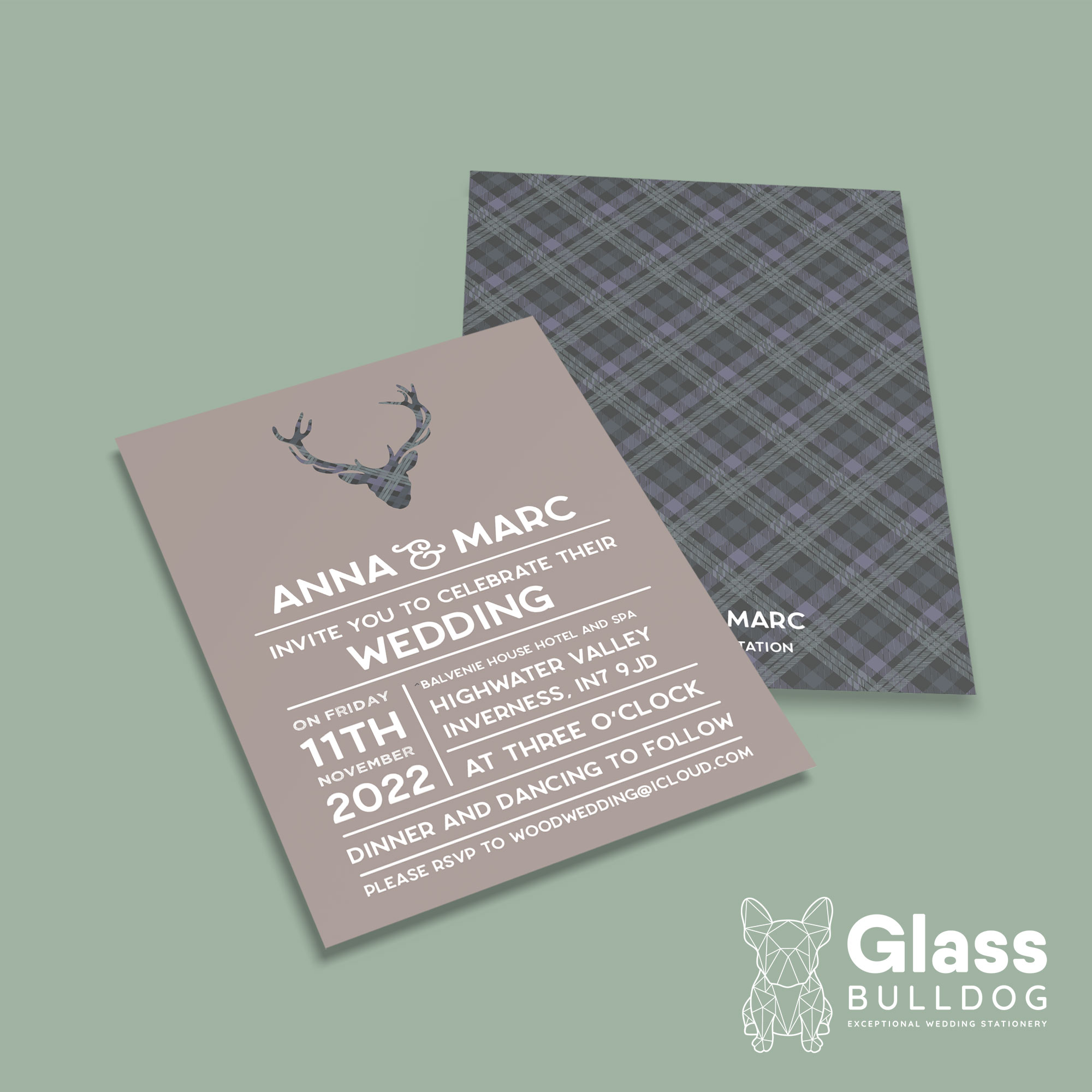 Tartan stag wedding invitation