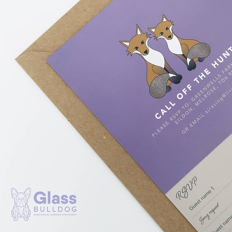 Bespoke fox wedding invitation with tear-off RSVP