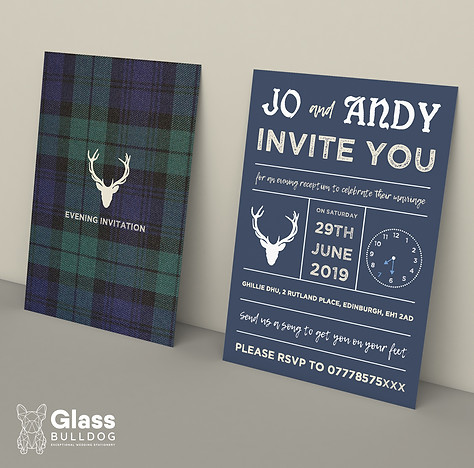 Bespoke tartan wedding invitation