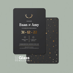Foiled stag and stars Wedding invitation