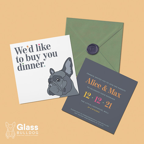 Modern French Bulldog wedding invitation