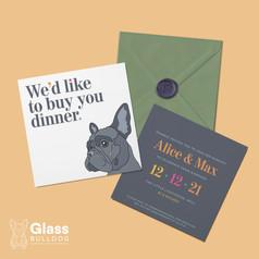 Modern French Bulldog wedding invitation