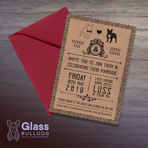 Bespoke bulldog wedding invitation