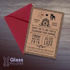 Bespoke bulldog wedding invitation