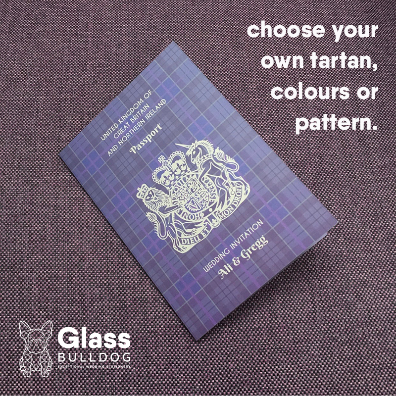 Tartan Passport Wedding invitation