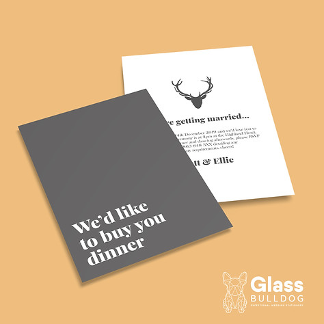 Minimalist stag wedding invitation