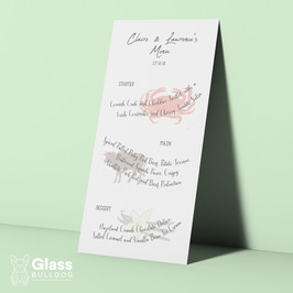 Bespoke wedding menu with food illustrations