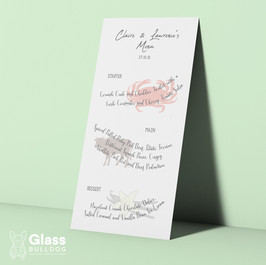 Bespoke wedding menu with food illustrations