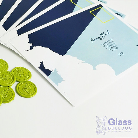 Bespoke printed envelope with wax seals