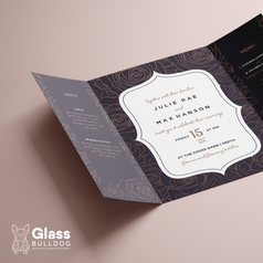 Gatefold rose wedding invitation