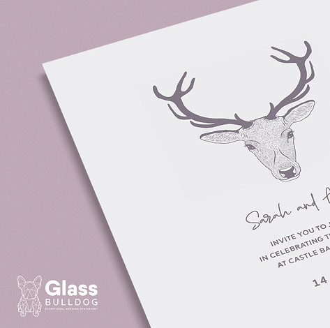 Sketched stag wedding invitation