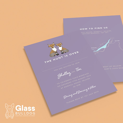 Bespoke fox wedding invitation