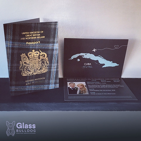 Bespoke tartan wedding passport invitation