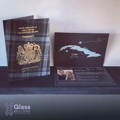 Bespoke tartan wedding passport invitation
