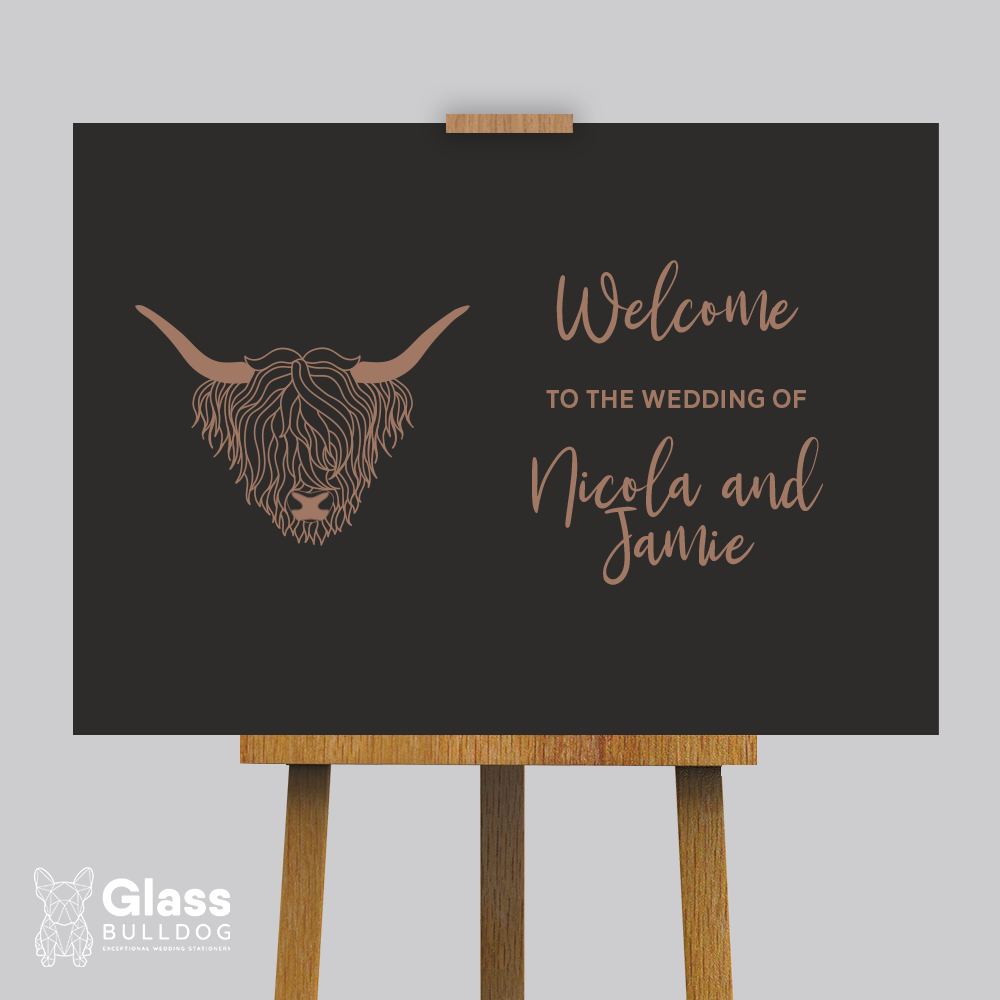 Highland Cow Wedding welcome sign