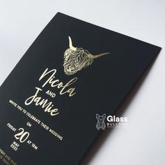 Gold foiled Highland cow wedding invitation