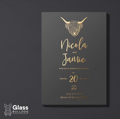 Foiled highland cow wedding invitation