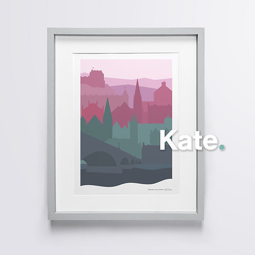 Peebles silhouette print (sunset)