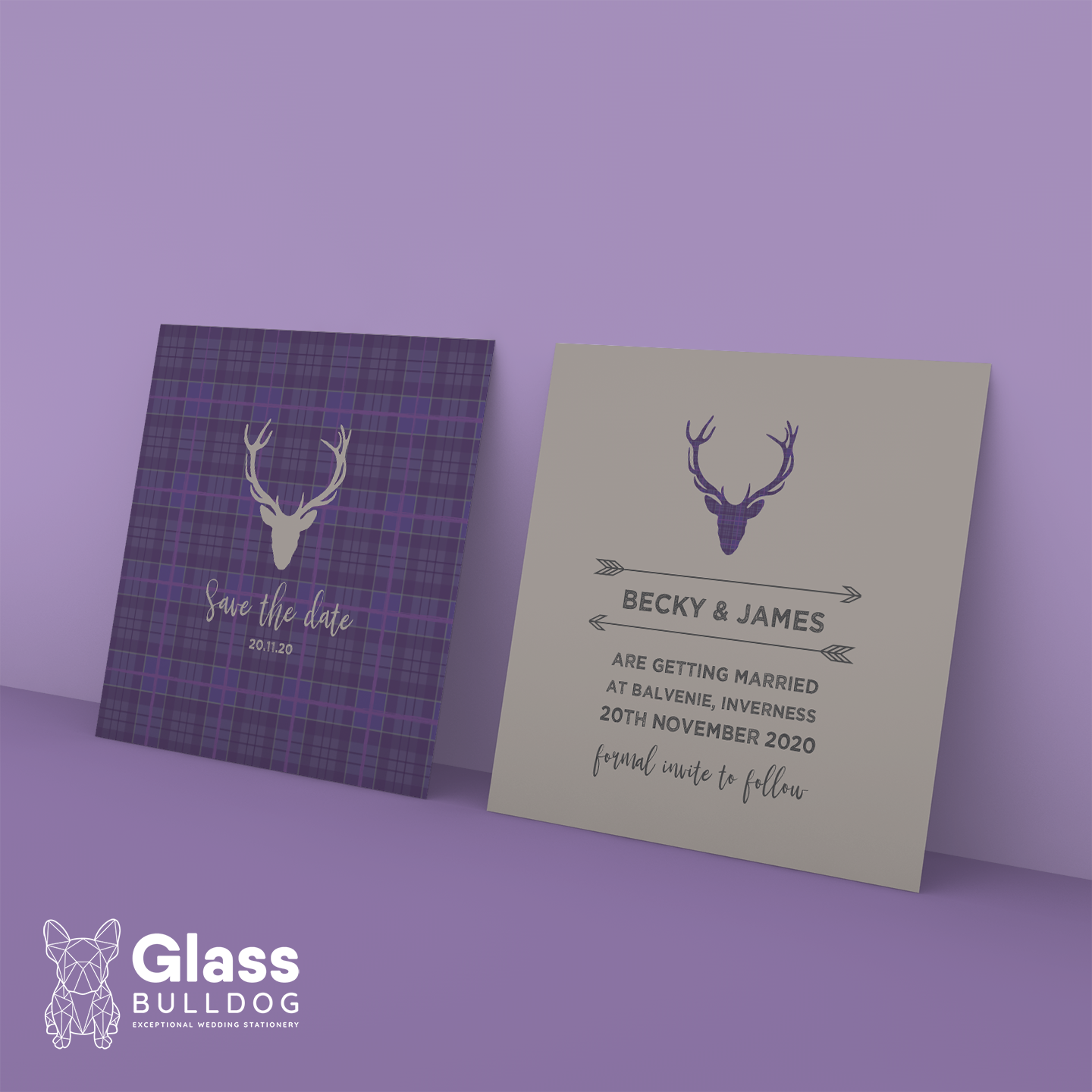 Tartan stag save the date