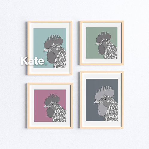Chicken print with colourful background