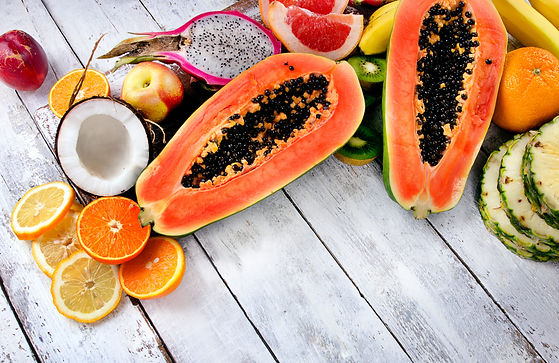 Papaya raw Exotic tropical fruits on