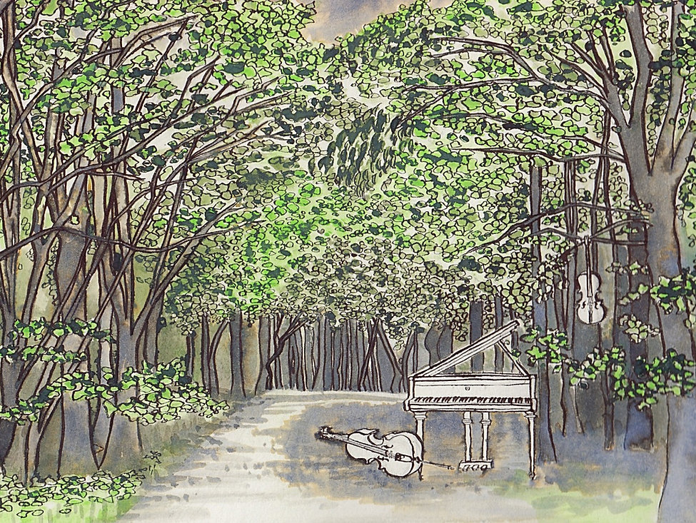 Piano trio in the forest. Illustration by Clare O'Connell. Storytelling and music.