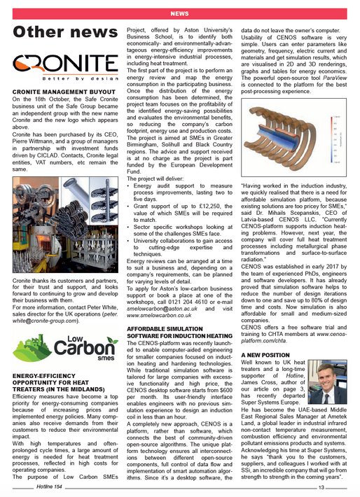 Publication on The Contract Heat Treatment Association Newsletter
