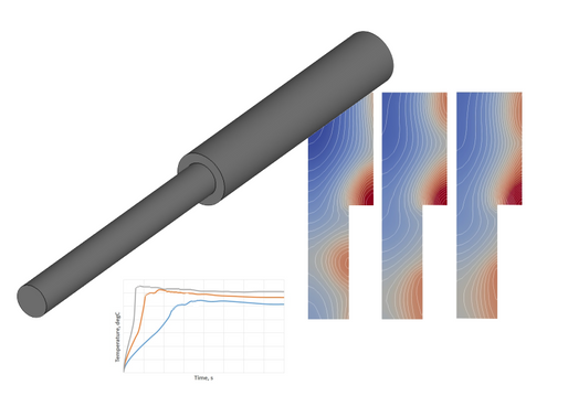 Frequency Analysis for Heating of a Stepped Shaft