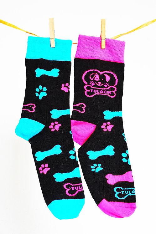 Ponožky Tuláčik - čierno-modroružové