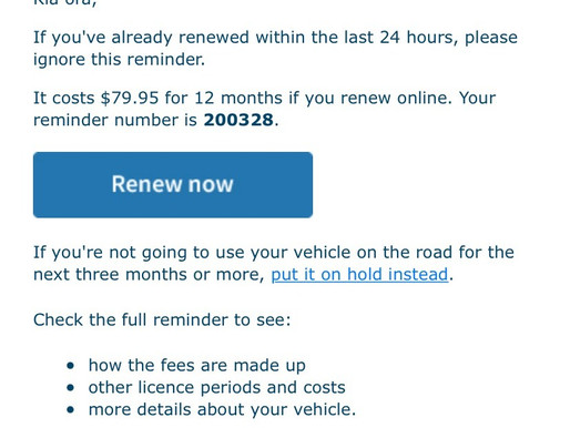 NZTA scam email back