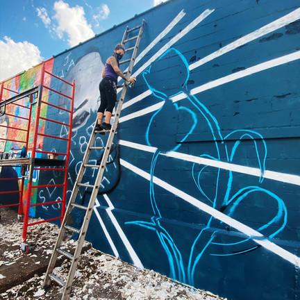Progress picture during Memphis Mural Festival