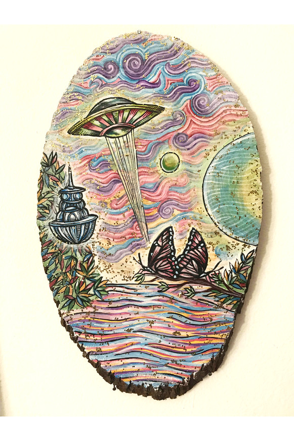 UFO painting on wood with glitter and ac