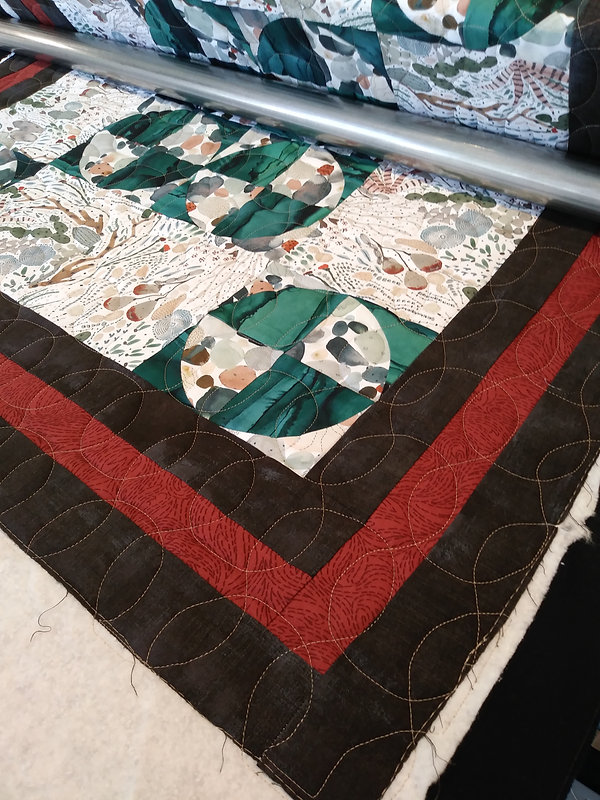 Hunter's quilt being quilted Mar 2021.jp