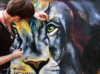 """Peinture de """"Lions inside"""""""