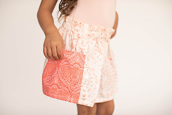 Coral & Cream Pocket Skirt